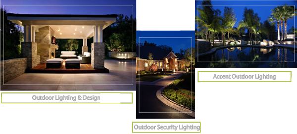 Exterior outdoor lighting, landscape exterior yard lights, security outdoor lighting installation, installing exterior lighting, electrician who installs exterior lighting and design