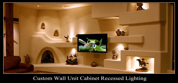 Cabinet Lighting Installation, Recessed Lighting Installation, Custom Wall Unit Recessed Lighting,Wall Unit Recessed Lighting, Small Cabinet Pocket Lights, Track Lighting, Electrical Contractor, Electrician Mesa, Mesa Az Electrician, Shocky Electric